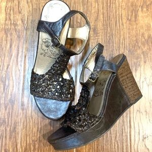 Jellypop brown perforated wedge heels size 8.5